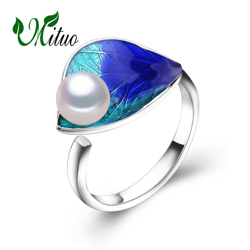 MITUO engagement ring,2017 new fashion Cloisonne Pearl rings,bohemian jewelry rings for Women Wedding Ethnic ring Creativity