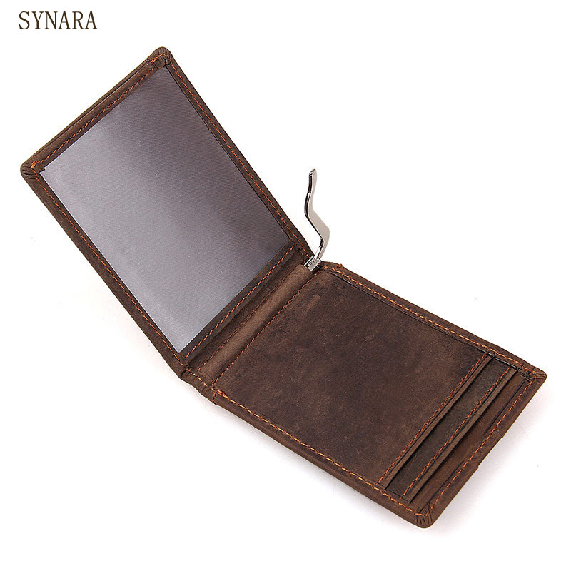 Fashion Men Money Clip BROWN Genuine Leather Billfold Clamp For Money With Card Hold Luxury Wallets Clip Credit Card Wallet