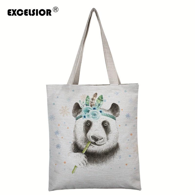 New Arrival Cute panda Printed Lady Beach Bag Character Canvas Women Handbags Female Single Shoulder Bags Fashion Travel Bags