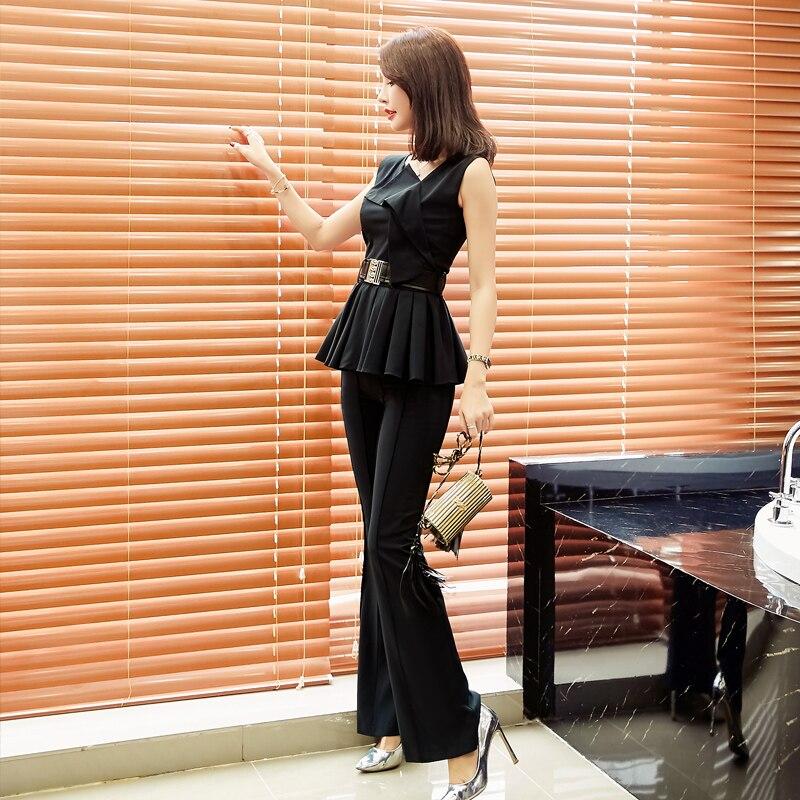 La Jupe De Noir Basant 2018 couture Auto Costume Chemise Sans Ensembles Soie Mousseline D'été En Jambe Manches Femmes Large Nouveau Pantalon Deux Polyester Vente 6xgq7YZ
