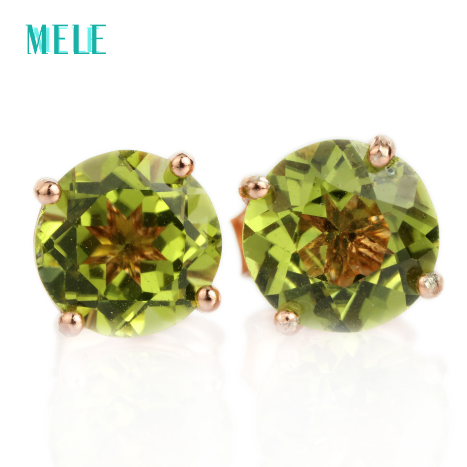 Natural peridot silver stud earrings, round 6mm*6mm, rose gold color and cutting fire,elegant and popular