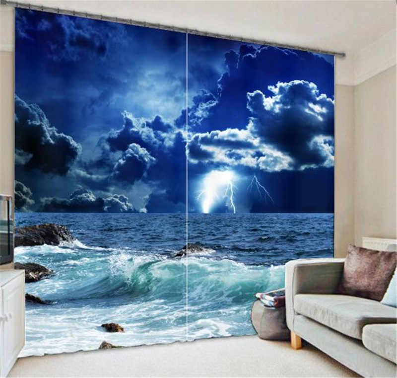 blue star  curtains  landscape 3D Blackout Window Curtains For Living Room Blackout curtain galaxy curtains