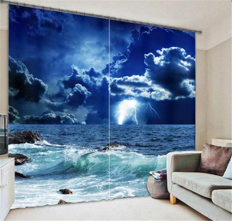 Blue Star  Curtains  Landscape 3D Blackout Window Curtains For Living Room Blackout Curtain Galaxy Curtains
