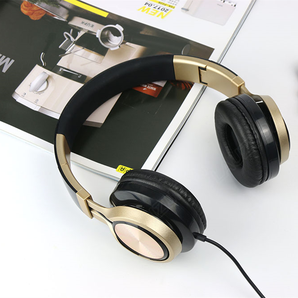Wired Headphones Earphones 3.5mm AUX With Microphone Foldable Portable Adjustable Headset For Phones MP3 Computer PC Music Gift