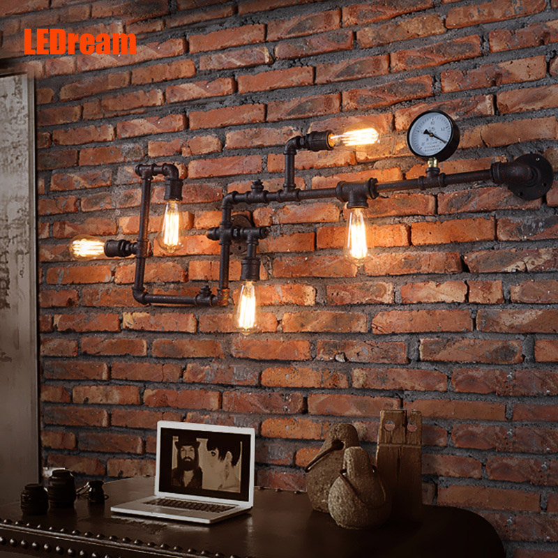 Creative American rural industrial wind cafe bar lamp, wrought iron pipe wall lamp, restoring ancient ways люстра arte lamp venice a2101pl 4wh