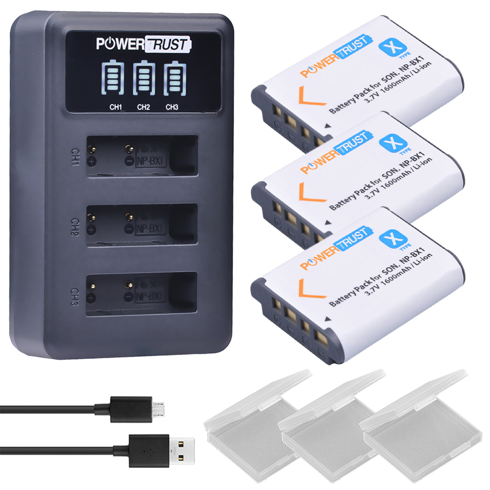 3Pcs 1600mAh NPBX1 NP BX1 NP-BX1 Batteries + LED 3 Port USB Charger for Sony DSC-RX100 DSC-WX500 HX300 WX300 HDR AS100v AS200V