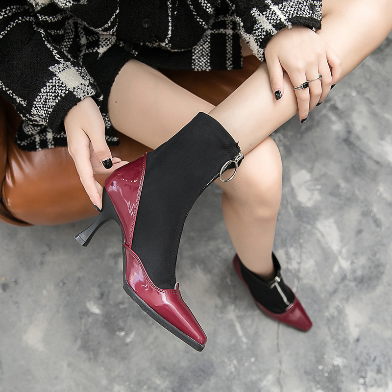 Chaussettes Rouge Taille 39 Noir Femelle Talons La Chaussures Femme Automne Beige rouge Femmes Beige noir Cheville Bottes Plus Haute Pompes Yyvbf76g