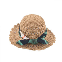 Straw Hat Ribborn Decor Sun Protection Children Hat Headgear Cap Clothing Accessory for Garden Beach Outdoor Camp(China)