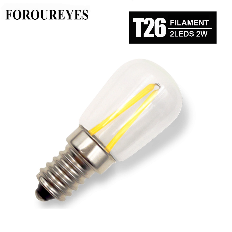 4pcs T26 Refrigerator Lamp E14 E12 LED Filament glass Bulbs 1.5W 110V 220V 360 Degree Retro lighting Chandeliers Bombillas