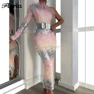 Image 1 - ורוד נוצת מוסלמי פאייטים ערב שמלות ערבית קוטור כתף אחת לנשף שמלת דובאי רב צבע המפלגה שמלת Vestido קפטני