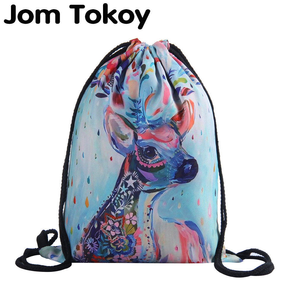 цены Jom Tokoy 3D Printing Colorful deer Girls Student Drawstring Backpack Fullprinting new fashion Women Drawstring Bag