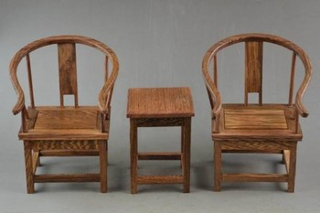 ( Mini ) Exquisite Interesting Old Chinese Handwork Rosewood Carving Lucky Set Of Table & Chair Model.
