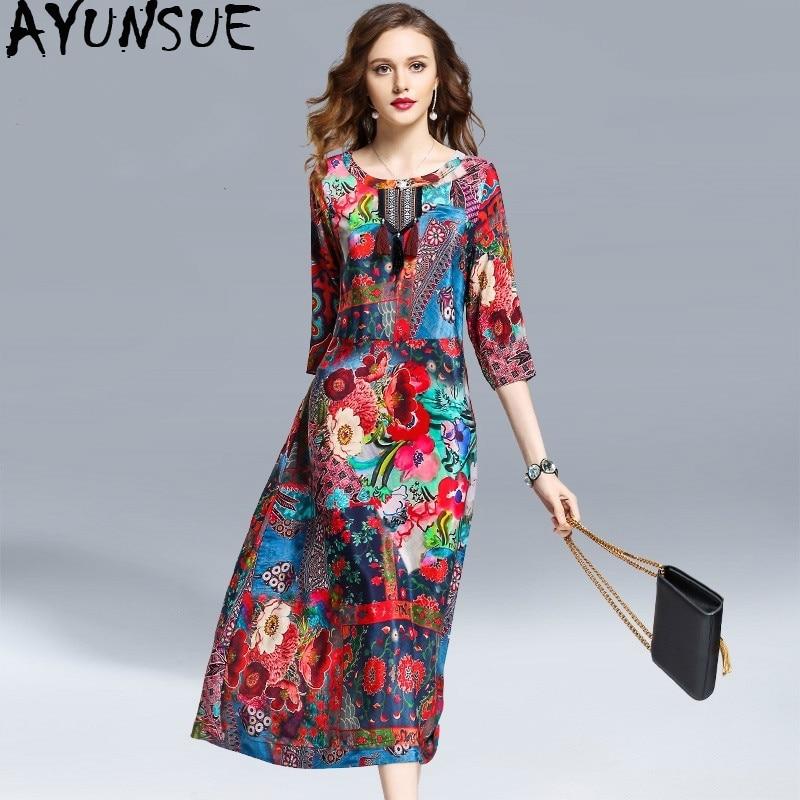 AYUNSUE Women's Spring Summer Floral Dress Elegant Vintage Silk Dress Ethnic Style Long Dresses Beach Vestidos De Verano KJ1851