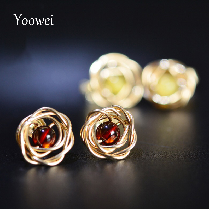 Yoowei Wholesale Handmade Amber Earrings 4mm Natural Round Beads Rose Flower Stud Earrings Baltic Amber Jewelry Pendientes ambar pure handmade string beads beads bracelets tassels roasted blue flower accessories amber beaded bracelet factory wholesale