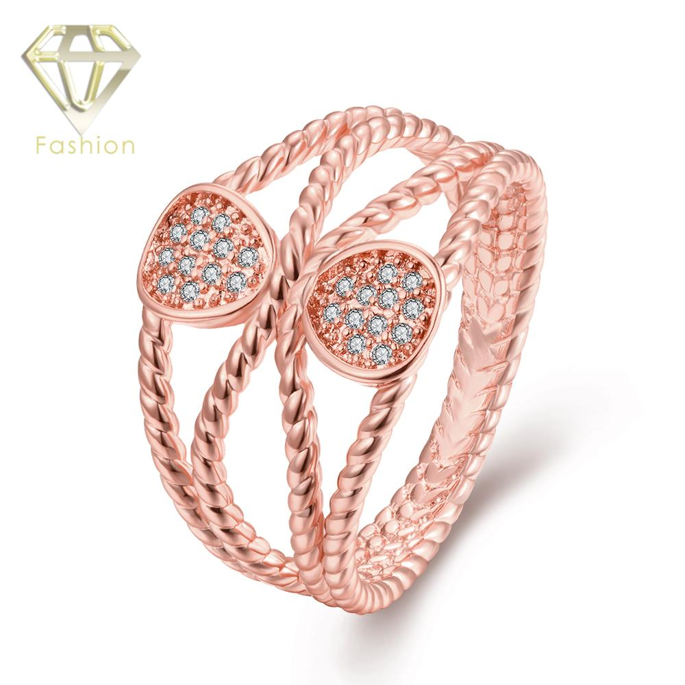 High Quality /Rose Gold Color AAA+ Cubic Zircon Crystal Hollow Out ...