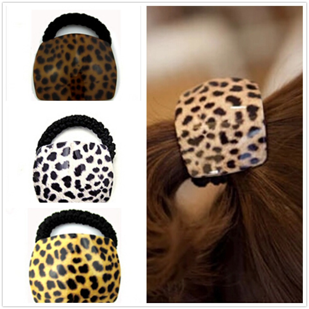 Hot sell Promotion Hair rubber hair band hair accessory acrylic leopard print headband hair rope XS006 5 10pc hot sell gold silver elastic rubber telephone wire hair rope ponytail holder party hairband hair band accessories