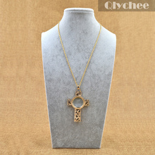 Fashion Jewelry New Gold Magnifying Glass Antiqued Cross Shaped Pendant Chain Necklace Art Pendant Necklace