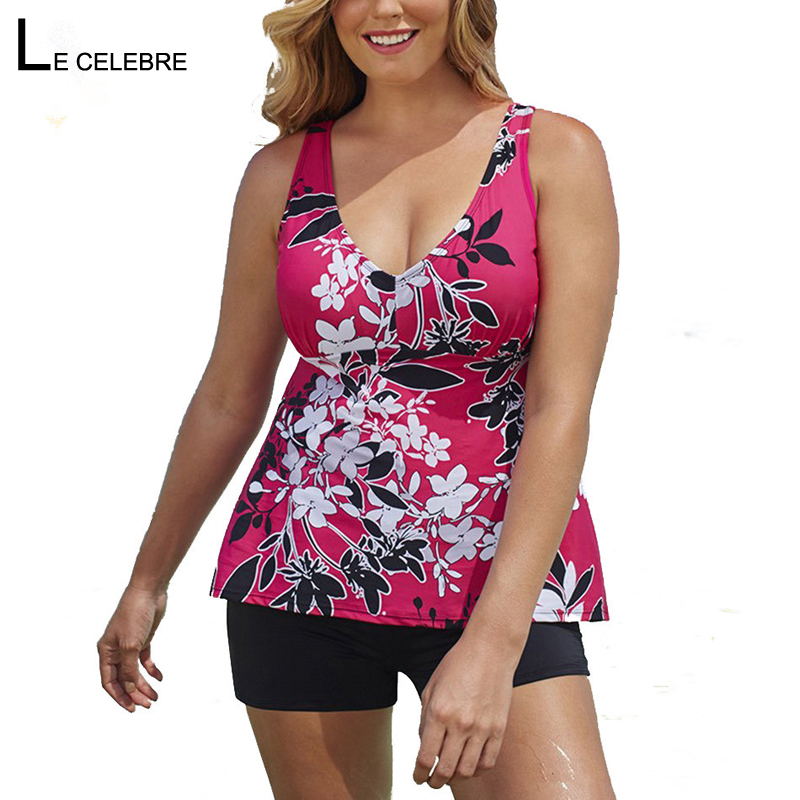 2019 Women Swimwear Two piece Suits Tankini Swimsuit Female Bather Beach Bathing Suit Bodysuit Large Big Plus size Shorts Plavky