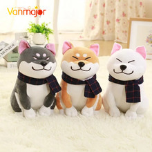 1PC Wear scarf Shiba Inu dog plush toy soft stuffed dog toy good valentines gifts for