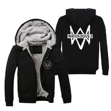 2016 Mens Casual Game Watch Dogs 2 Logo Hoodies Black Fleece Winter Thick Zip up Cotton Super Warm Sweatshirts