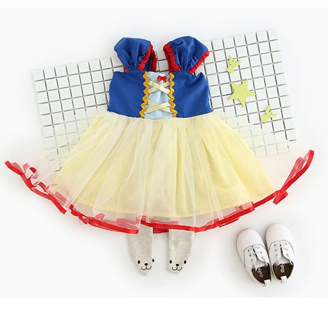 Azul Blancanieves Bebé primero Cumpleaños del Mono de Trajes Trajes Vestido de Petti Del Cordón Del Mameluco Del Bebé Recién Nacido Ropa Infantil Ropa