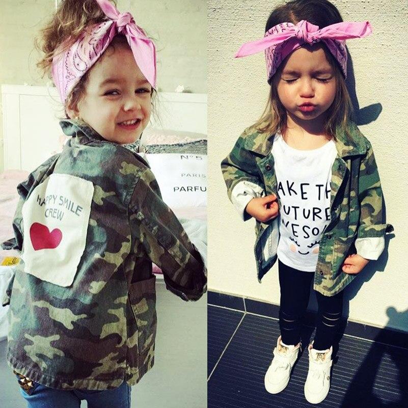 Yorkzaler bebé niñas Cardigan chaqueta 2017 moda Primavera otoño camuflaje abrigos ejército niños rompevientos prendas de abrigo