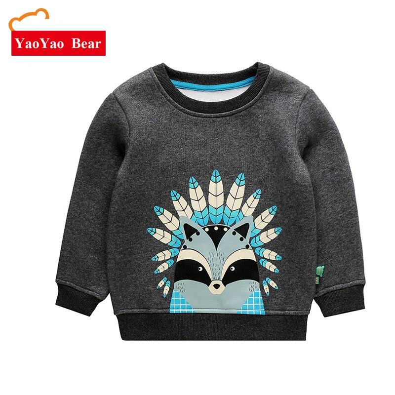 YAOYAO BÄR Baby Boy Pullover 2017 Frühling Cartoon Kinder Tops Jungen Warme T-shirt Lange Hülse Kleidung Casual Junge Tees Russland wetter