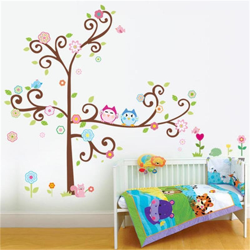 hot selling owl wall art for kids room wall decals zooyoo1011 diy decorative sticker home. Black Bedroom Furniture Sets. Home Design Ideas