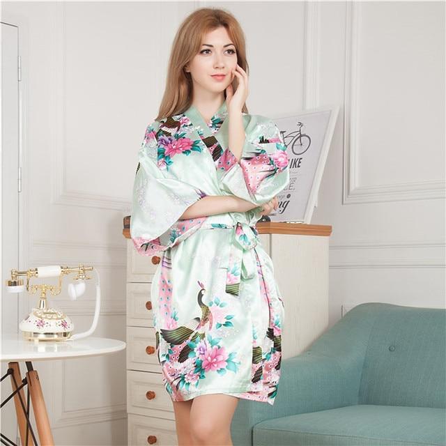 New Women Satin Short Nightgown Kimono Robe Bathrobe Floral Pajamas Wedding Bride Bridesmaid Sexy Dress Gown One Size Plus Size