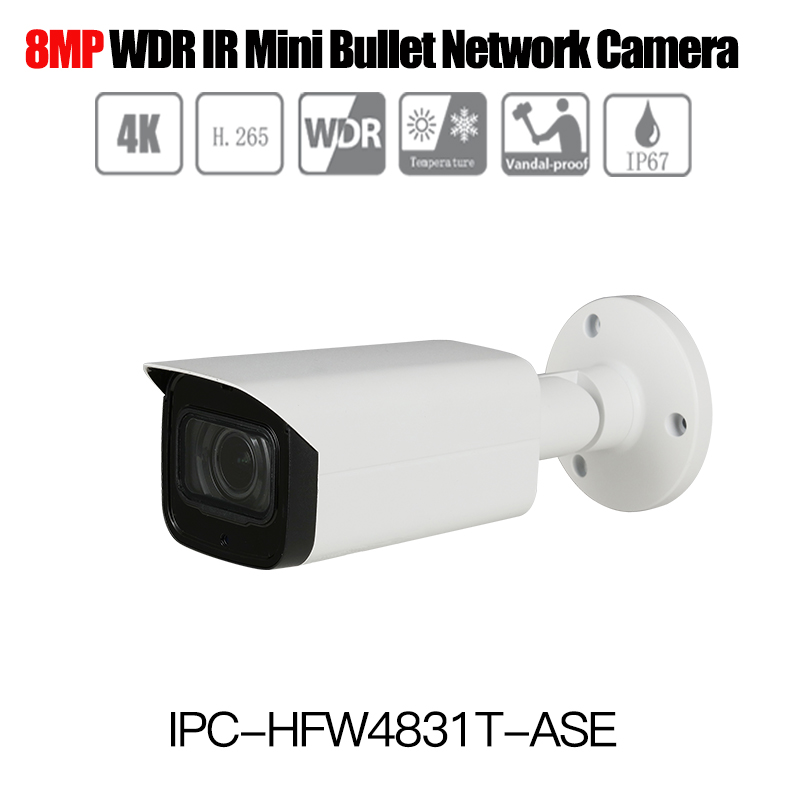 DH Original english H.265 4K 8MP IP Camera IPC-HFW4831T-ASE WDR IR Bullet Network Camera 4K outdoor ip camera without logo dh h 265 1080p ip camera ipc hfw4231t ase starlight wdr ir mini bullet network camera with audio ip67 ik10 outdoor ip camera