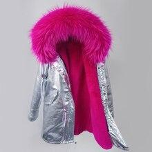 Winter Jacket Parka Silver pu coat real fur coat winter jacket women natural raccoon fur collar warm thick parkas Detachable