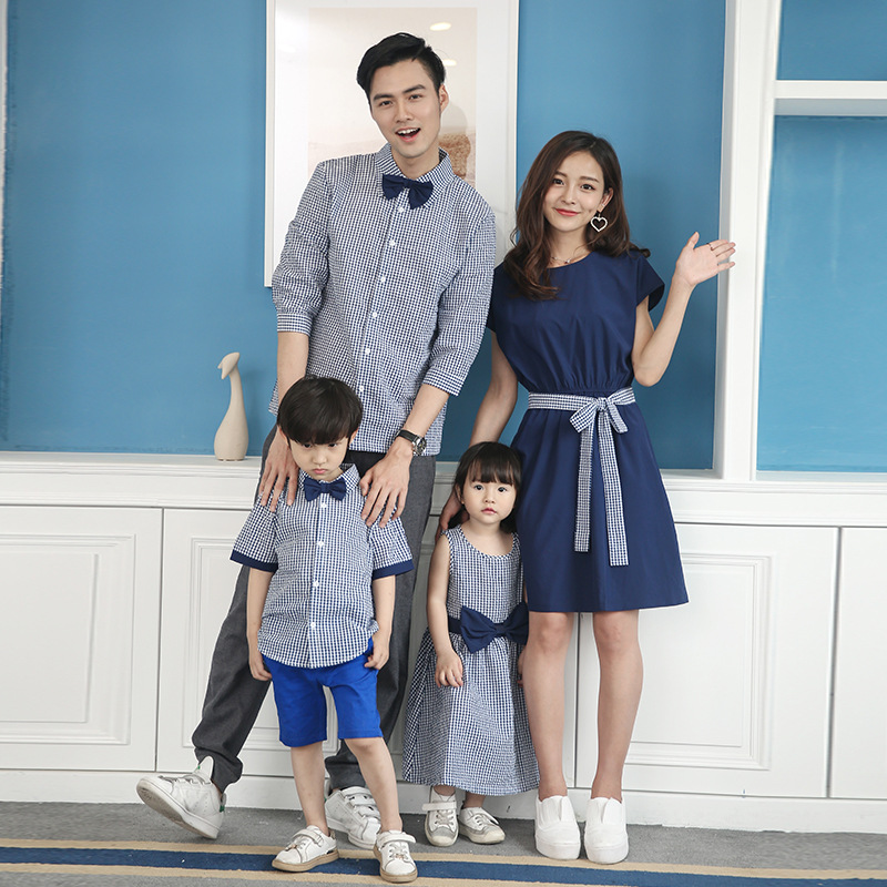 Mother Daughter Dress Family Father Son Sets Plaid T-Shirt Home Matching Outfit Casual Leisure Kids Suit Clothing