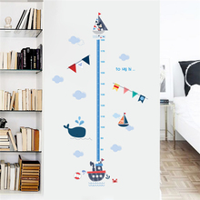 cartoon Mickey mouse sea boat height measure wall stickers for kids rooms home decor pvc growth chart decals diy mural art