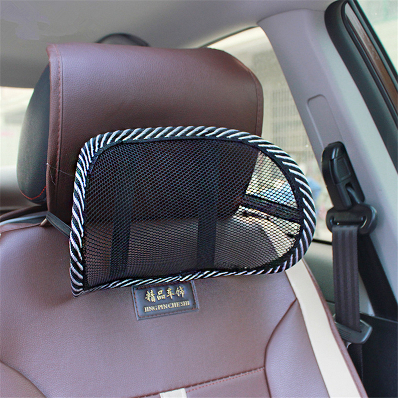 Car Mesh Pillow Neck Support Car Seat Pillow Cushion Ice Silk Ventilation Pillow Seat Backrest Headrest Interior Accessories