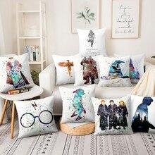 Linen Cushion Pillowcase Decorative-Pillow Sofa Watercolor Home-Decor Anime Illustration-Printed