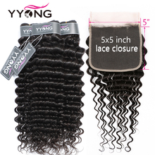 Лучший!  Yyong 3/4 Deep Wave Bundles With 5x5 Lace Closure 8-30 inch Peruvian Deep Wave Remy Human Hair Closure With Bundles Double Weft