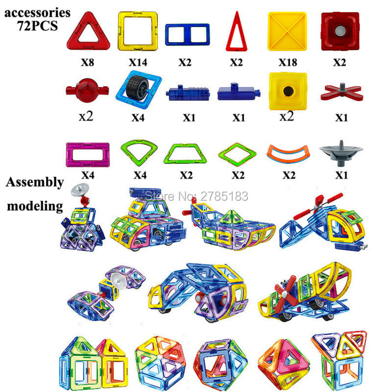 72PCS Magnetic Blocks Set Kids Magnetic Toys Construction DIY Building Blocks for Creativity Educational Assemble Bricks Toys mtele brand 62 pcs pcs magnetic tiles designer construction kids educational toys creative bricks enlighten toy