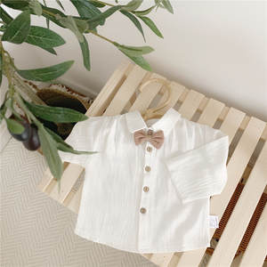 Dress Shirt Tidal Baby Korean-Version Girls And Boys Cotton Tops Spring Bow Shrits Small