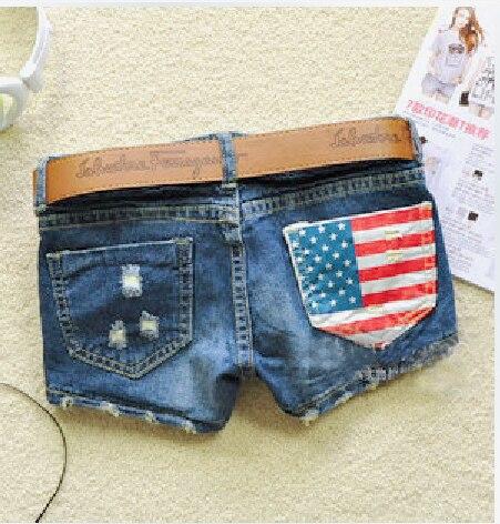 FANALA Denim   Shorts   Women   Short   Jeans 2017 Distressed American Flag Print Low Waist Pocket Ripped   Short   Pants Feminino