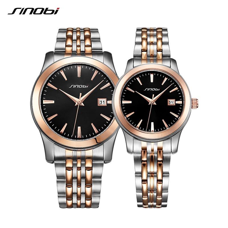 Couple Watch 2019 Men Watches Top Luxury Brand SINOBI Women's Quartz Watch Male Clock Ladies Wristwatch Fashion Lover Watch Gift