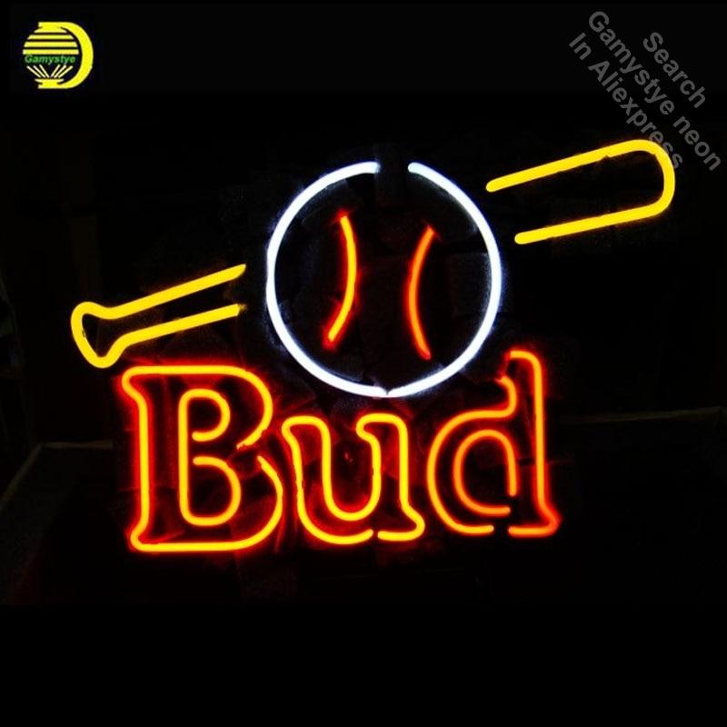 Neon Sign for Budweise Bud Baseball Bat Ball Neon Bulb sign handcraft neon light light Decorate Room handmade anuncio luminos