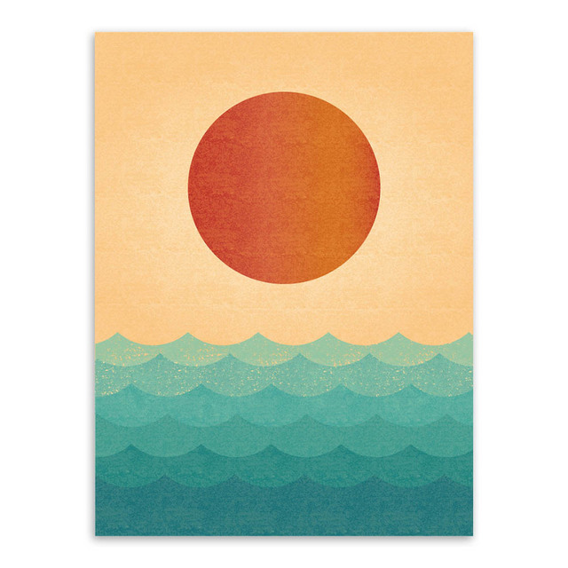 Nordic Minimalist Sunrise Sea Vintage Retro A4 Huge Art Prints Poster Abstract Wall Picture Canvas Painting No Framed Home Decor
