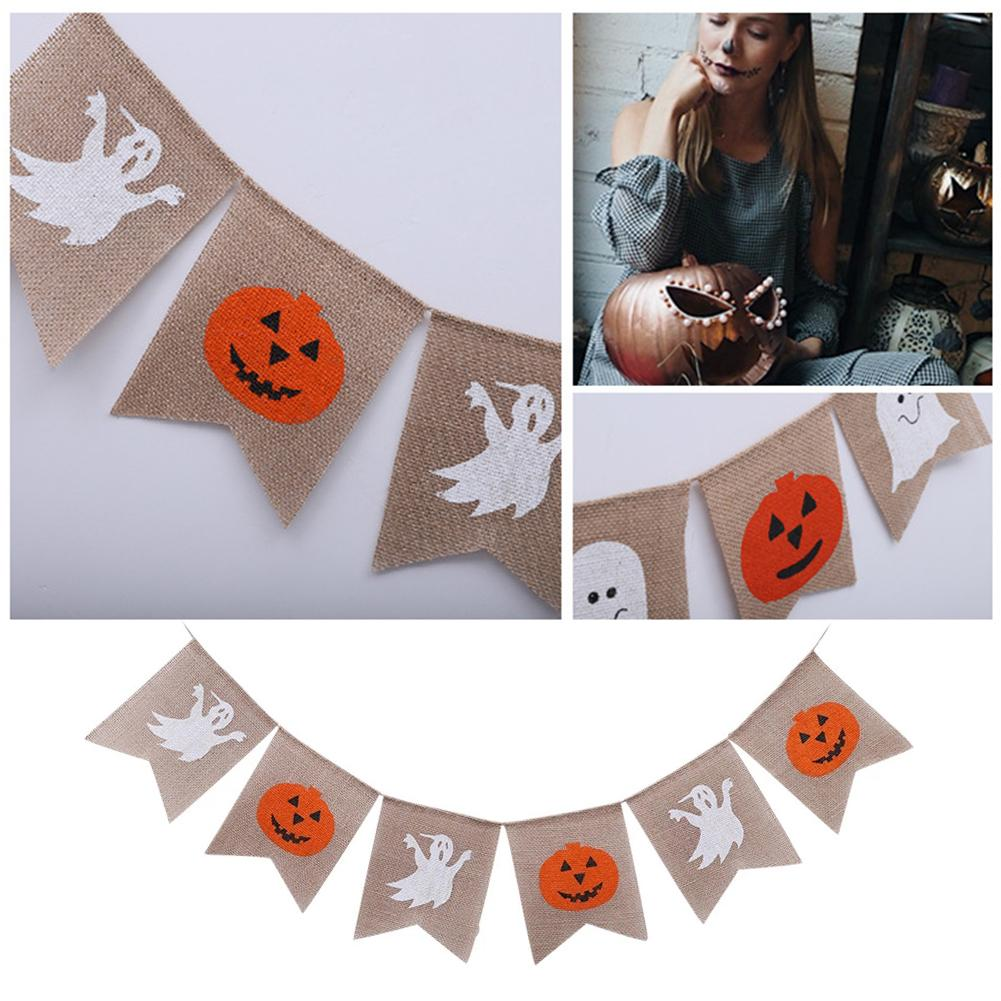 Halloween Ghost Party Decoration Baby Shower Pumpkin Tails Linen Bunting Birthday Parties Venue Decoration Color Burgee flags