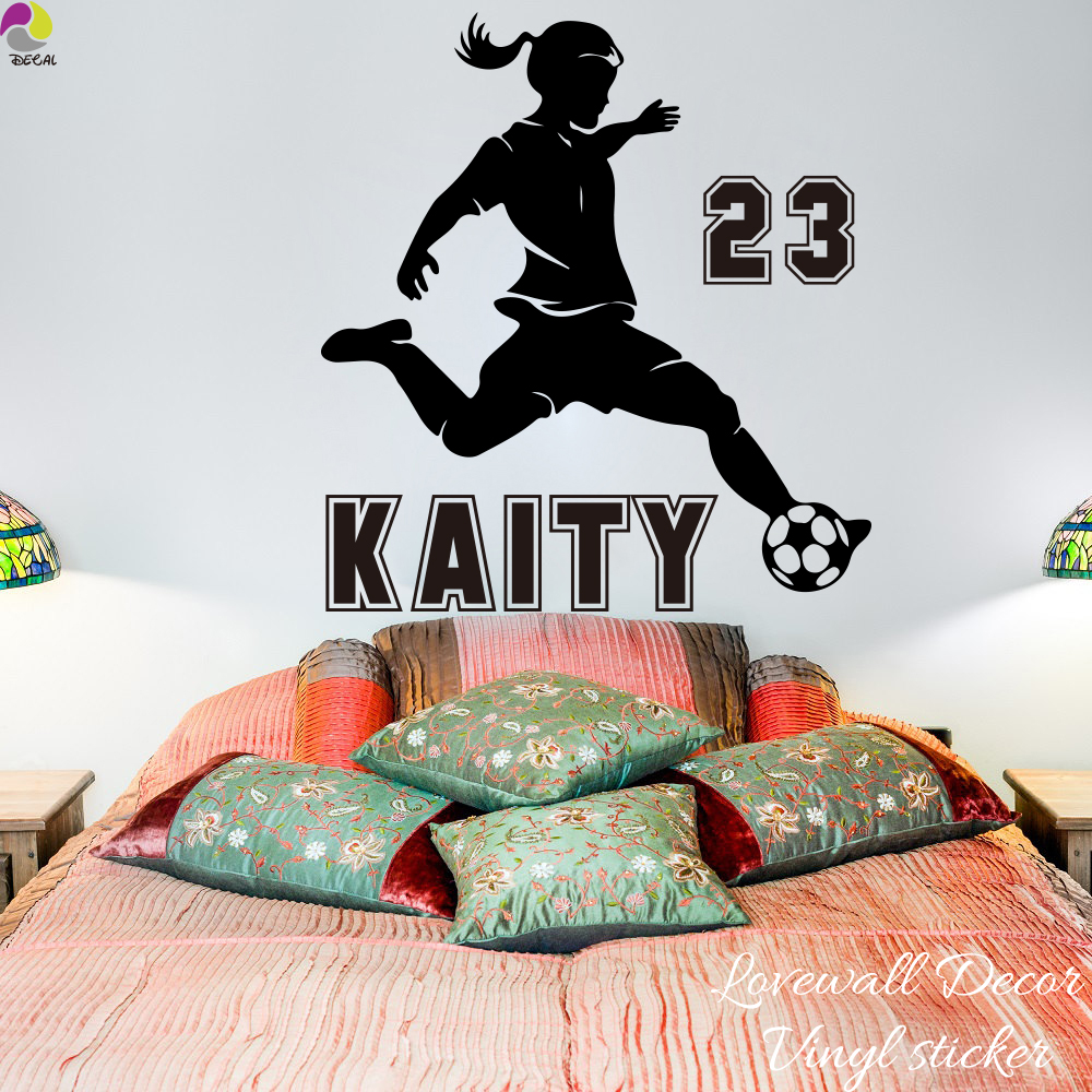 Football wall decals gallery home wall decoration ideas personalized soccer girl name wall sticker baby nursery girl room personalized soccer girl name wall sticker amipublicfo Images