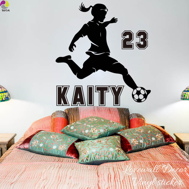 online shop personalized soccer girl name wall sticker baby nursery