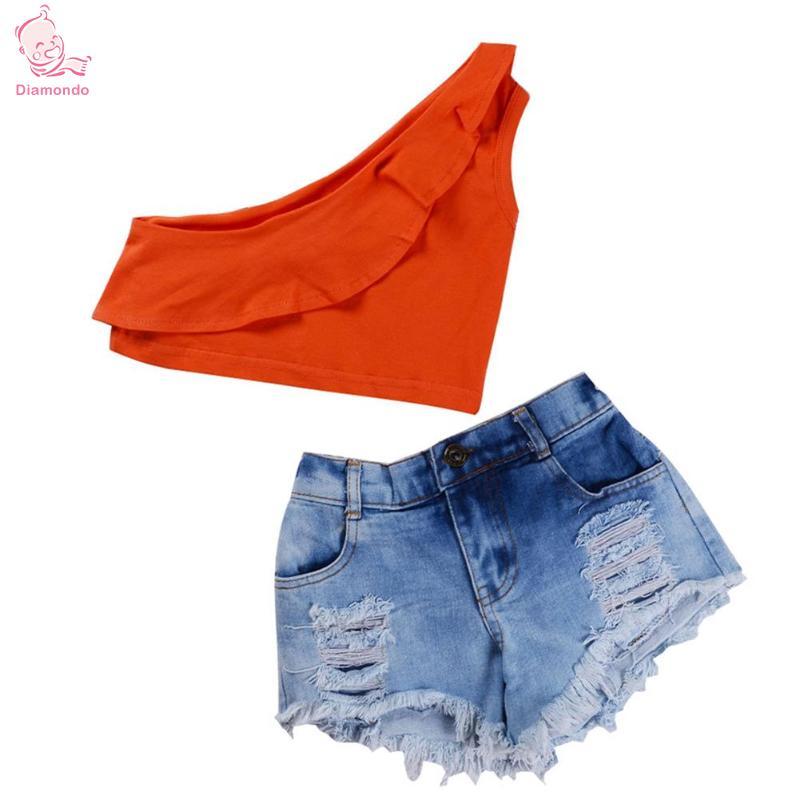 Baby Girls Clothes 2Pcs Cute Girls Tops Vest Denim Shorts Summer Fashion Off Shoulder Tops Solid Vest Denim Shorts Kids Outfits