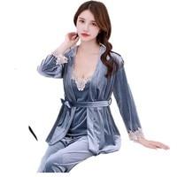 Sexty Maternity Pajamas Sets/3pcs Loose Cardigan+T shirt+Trousers Pregnancy Sleepwear V Collar Pregnant Women Nursing Nightgown