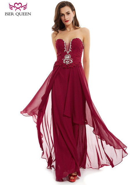 4ed5a77d1c2 Elegant Chiffon Bridesmaid Dress 2018 Sweetheart Neckline With Crystal  Beading Lace Up Wine Red Bridal Formal