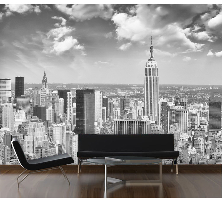 Black And White New York Wallpaper Murals 3d Stereo European Urban Living Room Bedroom TV Background In Wallpapers From Home Improvement