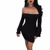 Pencil Dress for Women off Shoulder Bodycon Dresses One Piece womens Business Party Formal Office Clubwear Ruffle Sleeve dress
